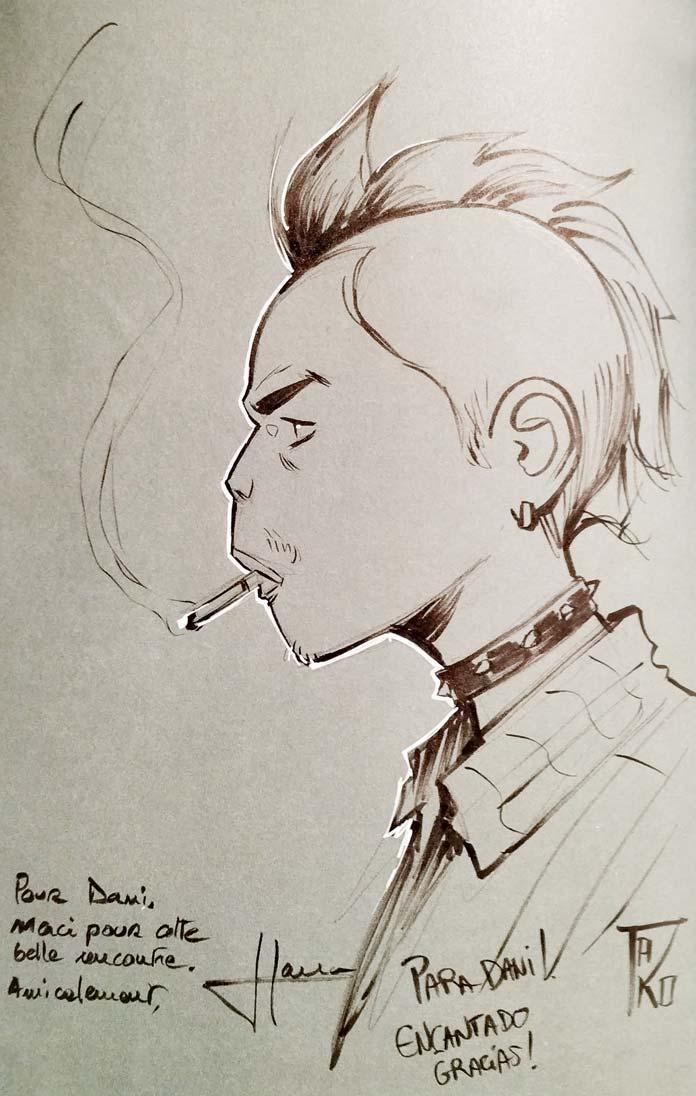 Dibujo de David Tako y dedicatoria de los autores